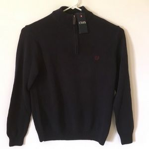 New Dark Blue Chaps 1/4 Zip Sweater